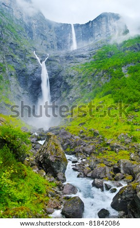 Biggest waterfall in the Norway. - stock photo