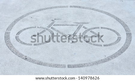 Bike allowed sign on the ground - stock photo