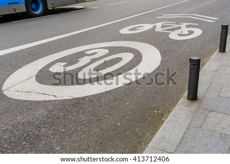 Bike and Bicycle lanes speed limit over 30 mph