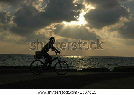 Bike at sunset by the beach