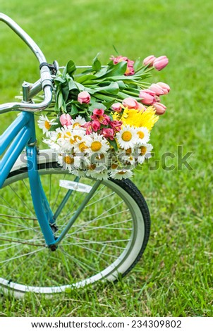 Bike basket of flowers in spring with room for copy space. - stock photo