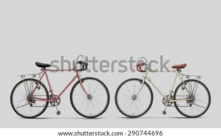 Bike classic red, white, gray background.