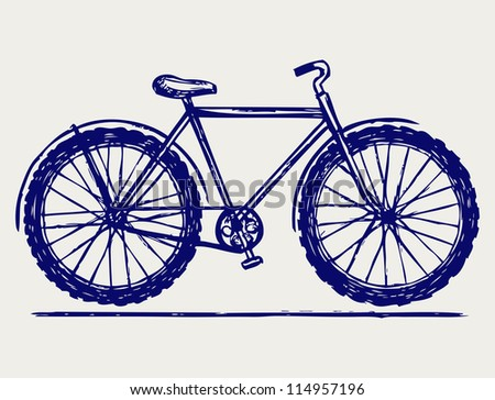 Bike. Doodle style. Raster version - stock photo