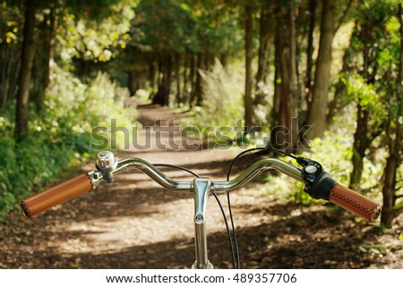 Bike handlebar on the road in the forest