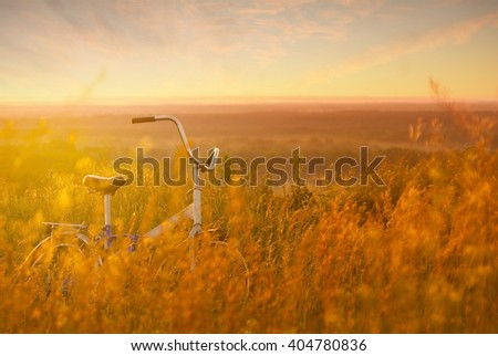Bike in a grass on a sunset - stock photo
