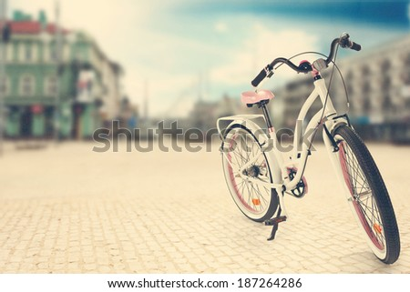 bike in the city landscape  - stock photo