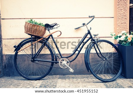 Bike in the city. Toned image