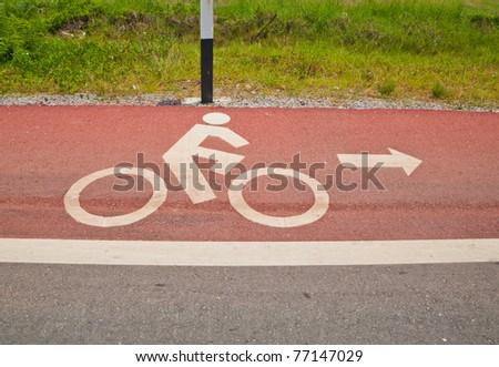 bike lane parallel main road in rural of Thailand,Chantaburi,Thailand - stock photo