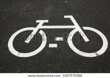 Bike Lane Symbol On Black Background Stock Photo Royalty Free