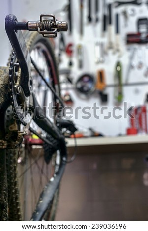 Bike on a workshop in the repair process - stock photo