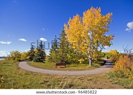 Bike Path around Glenmore Reservoir, Calgary, Alberta, Canada - stock photo