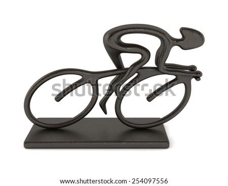 Bike Racer Statue - stock photo
