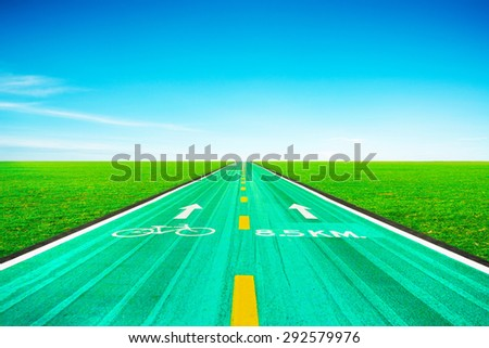 Bike road with blue sky