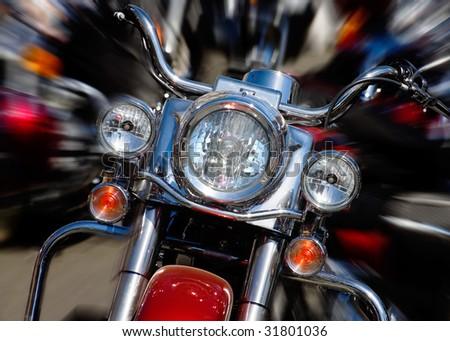 bike rushing at city streeet - motion blur - stock photo