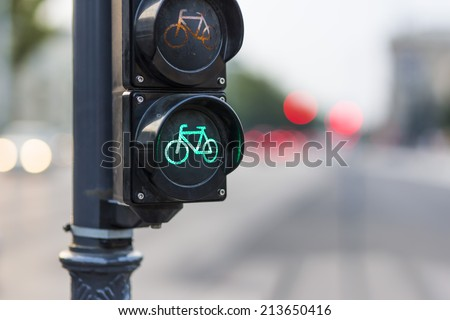 bike semaphore in the city with blurred background - stock photo