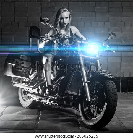 Bike. Sexy girl with perfect body - stock photo