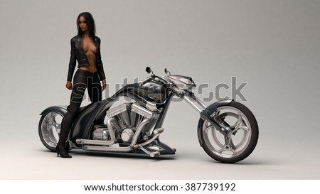 biker girl wearing leather outfit - stock photo
