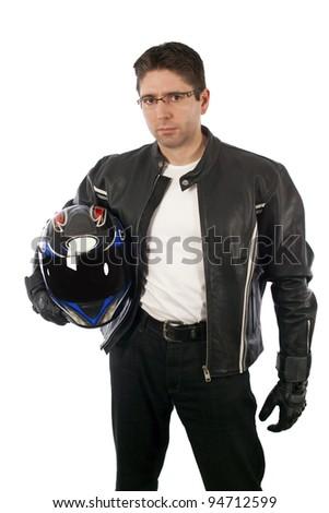 Biker holding helmet - stock photo
