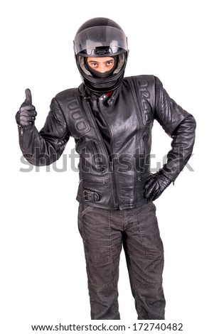 Biker in leather jacket with helmet isolated in white - stock photo