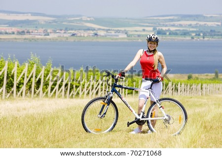 biker near vineyard, Nove Mlyny dam, Czech Republic - stock photo