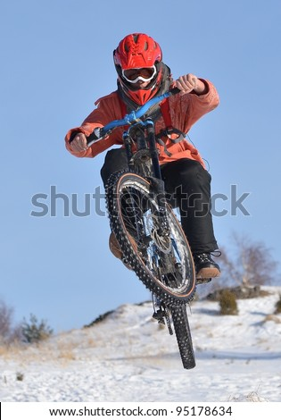 biker on snow - stock photo