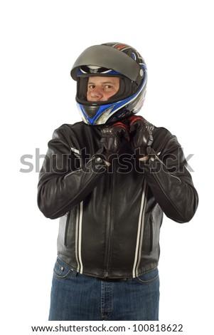 Biker posing for a photo - stock photo