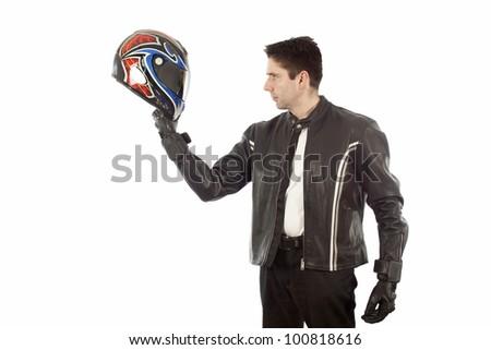 Biker posing with a helmet - stock photo