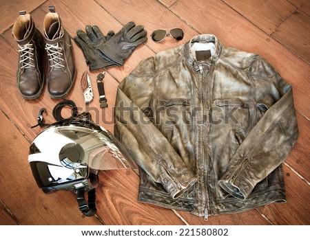 Biker Stuff - Motorcycle Gear - stock photo