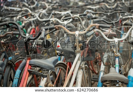 Bikes parked in the ancient city for tourist,Bicycles Thailand