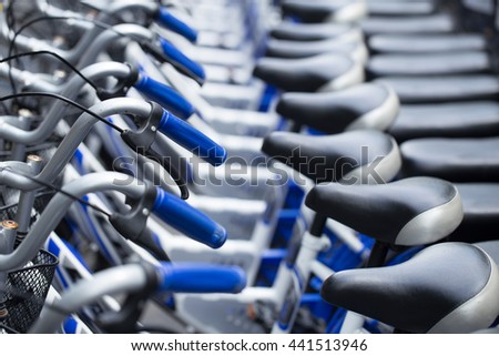 bikes parking for rent university campus for student. - stock photo