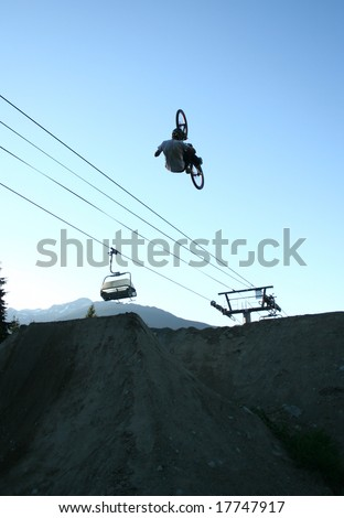 biking stunt in a competition - stock photo