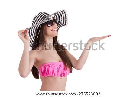bikini girl, white and black pamela and sunglasses - stock photo