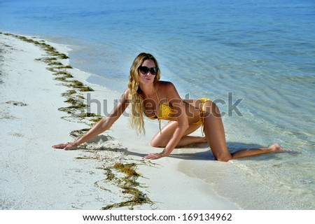 Bikini model posing sexy in front of camera at tropical beach location - stock photo