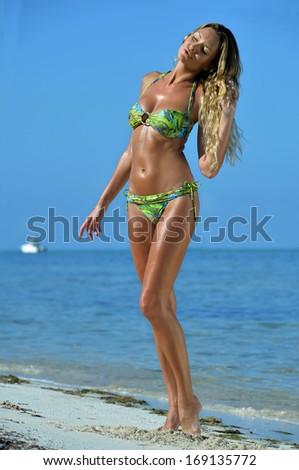 bikini models posing sexy at tropical beach location - stock photo