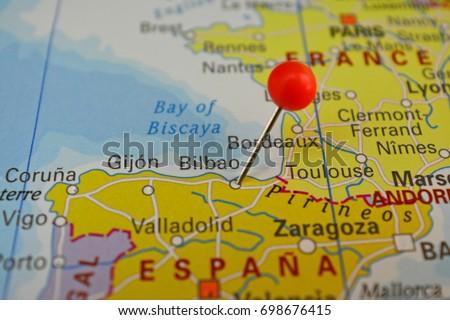 Bilbao Pinned On Map Spain Stock Photo 698676415 Shutterstock