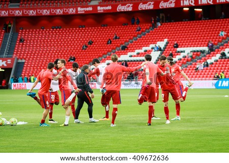 BILBAO, SPAIN - APRIL 20: Training footballer Athletico de Madrid players before the match between Athletic Bilbao and Athletico de Madrid, celebrated on April 20, 2016 in Bilbao, Spain - stock photo