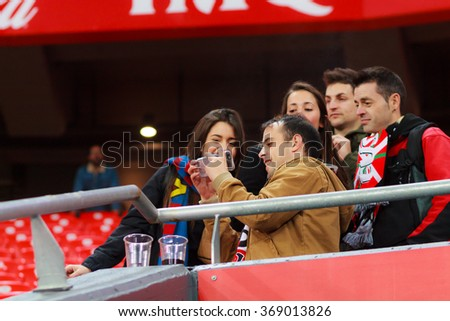 BILBAO, SPAIN - JANUARY 20: Unidentified fans of Athletic Bilbao and Barcelona one selffie made after the quarter-finals Cup between Athletic Club Bilbao, on January 20, 2016, in Bilbao, Spain - stock photo