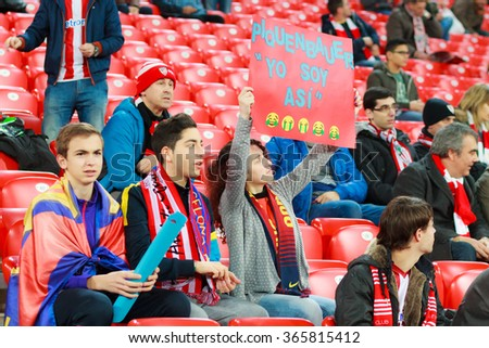 BILBAO, SPAIN - JANUARY 20: Unidentified FC Barcelona and Athletic Club Bilbao supporters during the quarter-finals Cup between Athletic Club Bilbao, celebrated on January 20, 2016, in Bilbao, Spain - stock photo
