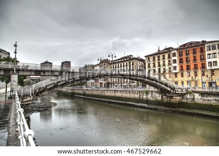 Bilbao, Spain, July 6, 2016: pedestrian bridge connecting the old quarters with San Francisco. July 6, 2016 in Bilbao, Spain.