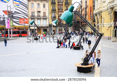 BILBAO, SPAIN - JUNE 17, 2010: Streets of the city center, Bilbao, Spain, June 17, 2010. - stock photo