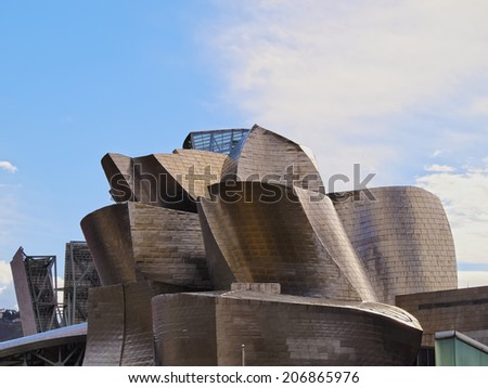 BILBAO, SPAIN - MARCH 8, 2013: Detailed view of The Guggenheim Museum in Bilbao, Biscay, Basque Country, Spain
