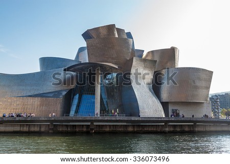 BILBAO, SPAIN - SEPTEMBER 27: Guggenheim Museum on September 27, 2014 in Bilbao, Spain. This picturesque and futuristic museum was designed by Frank Gehry. - stock photo