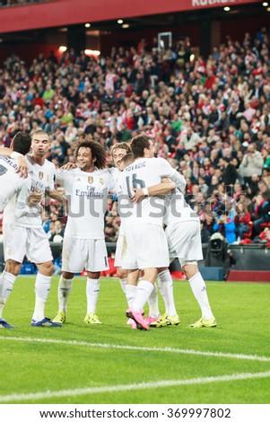 BILBAO, SPAIN - SEPTEMBER 23: Marcelo, Kovacic, Isco, Pepe, Karim Benzema and Cristiano Ronaldo are celebrating a goal in the San Mames Stadium, on September 23, 2015 in Bilbao, Spain - stock photo