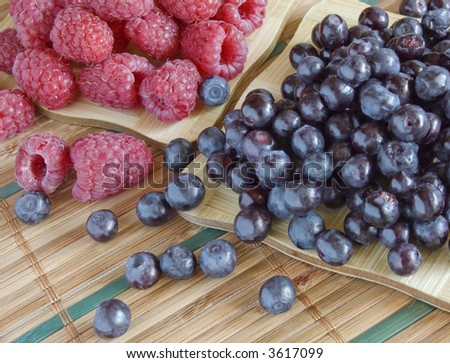 bilberries and raspberries, summer fruits