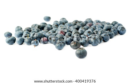 Bilberry or blueberry over isolated white background