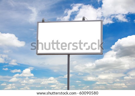bill board advertisement under blue sky with clouds - stock photo
