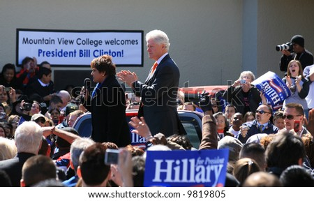 Bill Clinton campaigning for Hillary in Dallas, TX- Introduction - stock photo