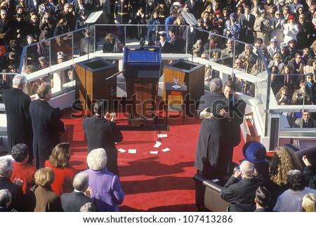 Bill Clinton, 42nd President, embraces Al Gore on Inauguration Day 1993, Washington, DC - stock photo