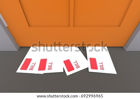 Bill mail under door on the floor 3d illustration & Bill Mail Under Door On Floor Stock Illustration 692996965 ...