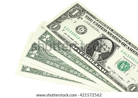 bill one US dollar on a white background